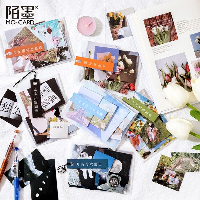 Mo.card etiqueta vintage para galería de imágenes, pegatinas de hojas para diario, decoración de colección de recortes, 1 lote = 1 paquete