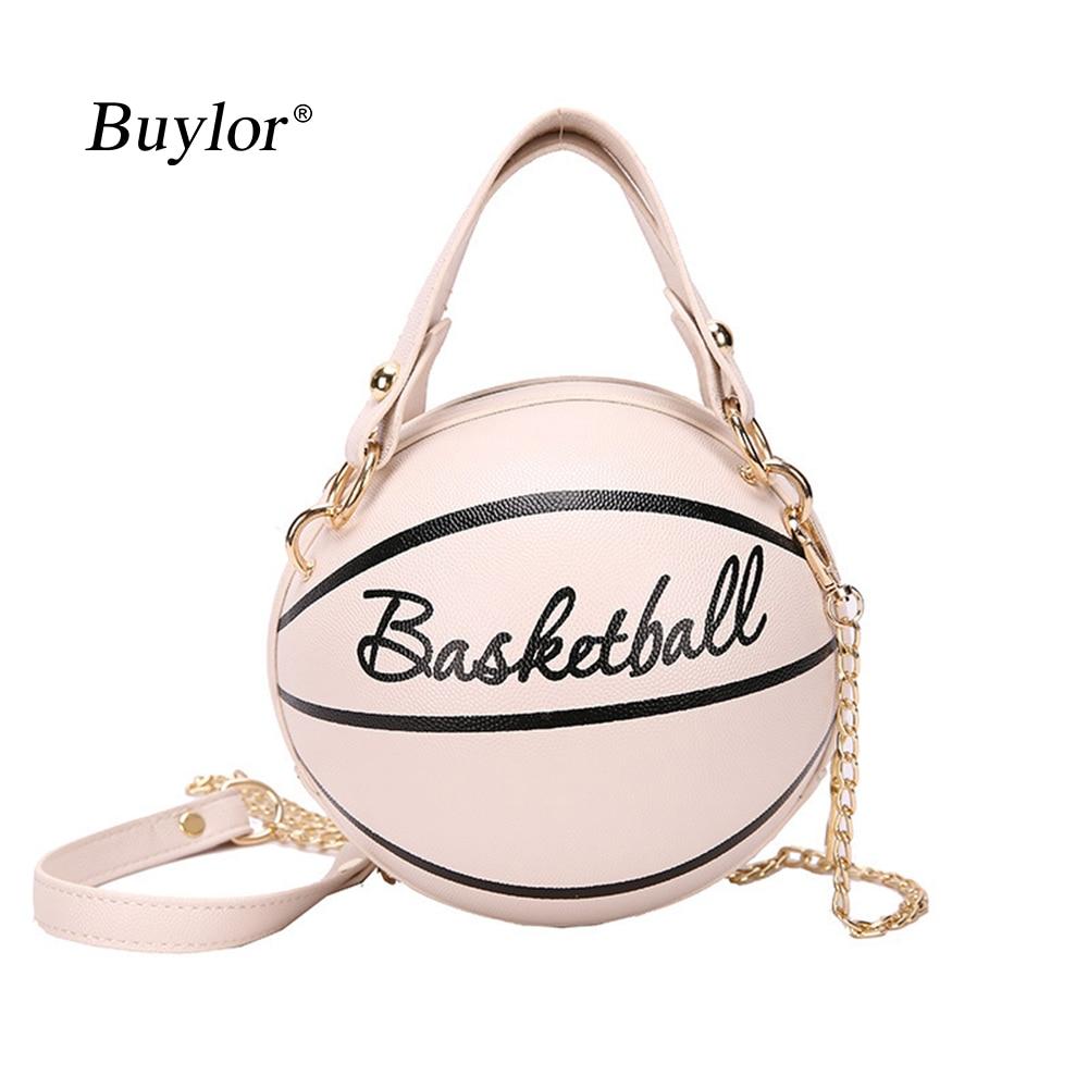 Buylor Personality Basketball Crossbady Bag for Women Casual PU Leather Handbag Cute  Round Ball Purse Wacky Female Chains Tote