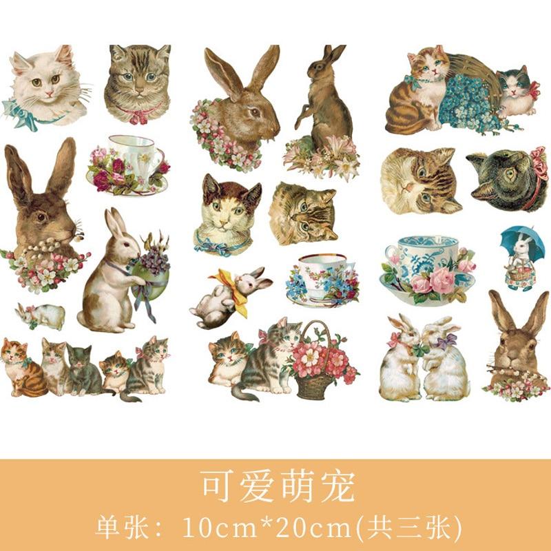 3 листа/упаковка акварельные кошки и кролики бумажные клеящиеся наклейки для дневника декоративные наклейки