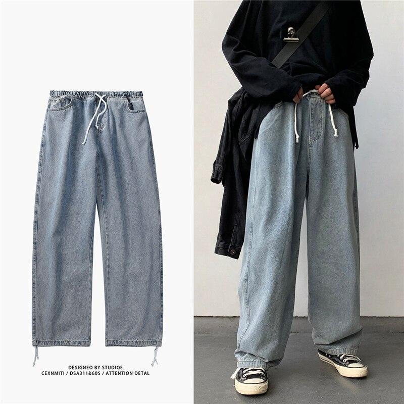 Korean Style Loose Wide Leg Jeans For Men 2020 Blue Baggy Denim Pants Kpop Clothes Fashion Jeansy Ulzzang Cargo Jeans Male