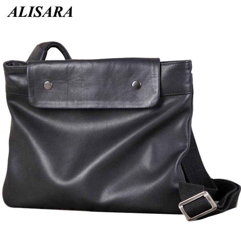 Alisara Women's Messenger Bag First Layer Cow Leather High Quality Ladies Casual Crossbody Handbag Unisex Organizer Shoulder Bag