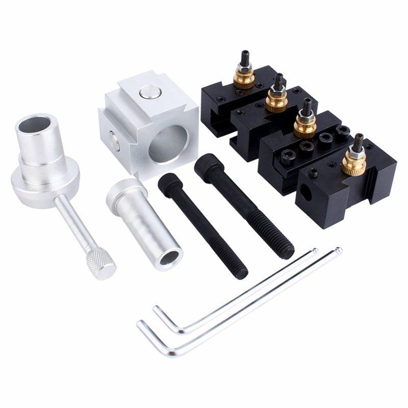 Mini CNC Lathe Tool Holder Quick Change Tool Post Cutter Holder Screw Kit Set Boring Bar Turning Facing Holder Wrench