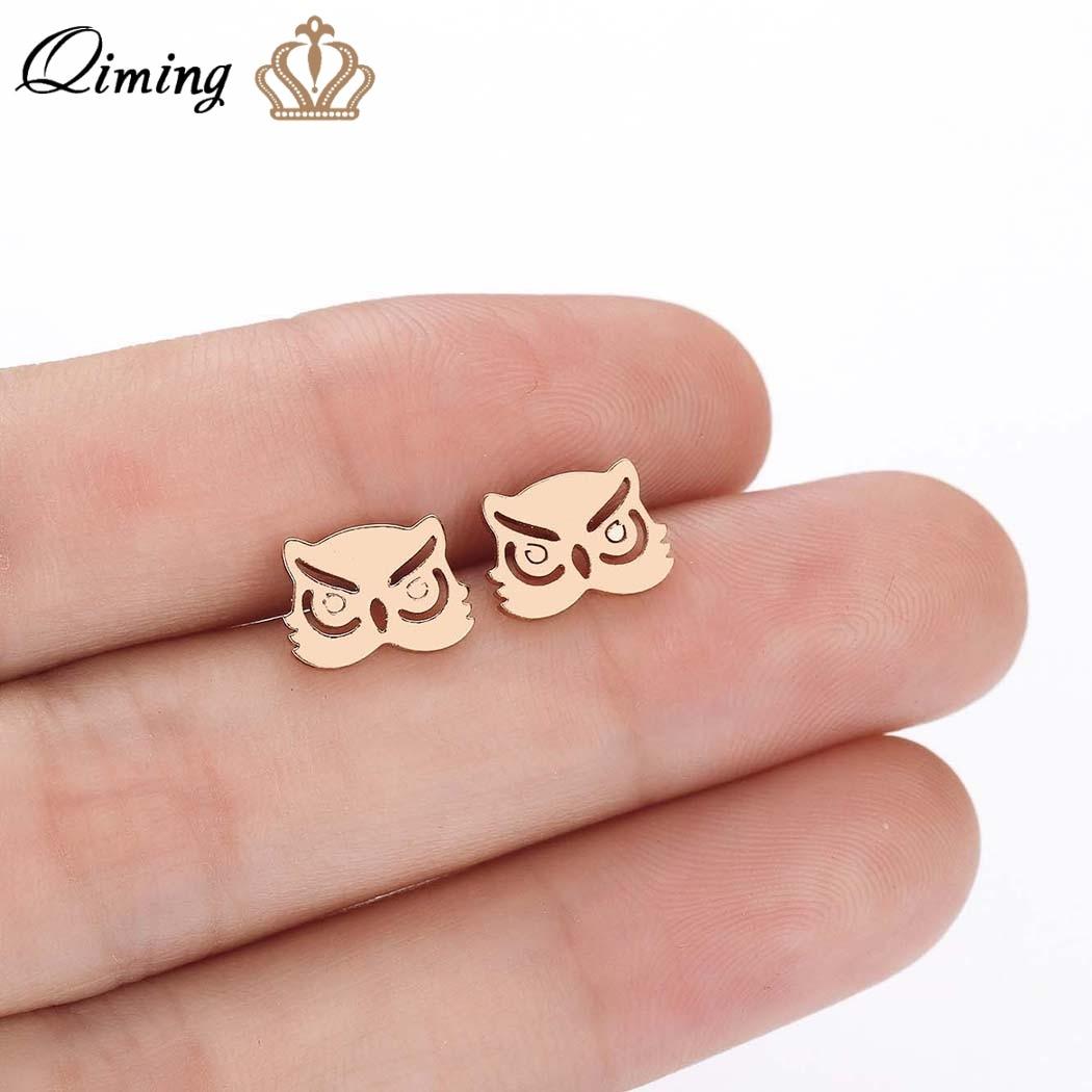 QIMING Cute Baby Animal Owl Earring Gold fashion Stud Earrings For Women Accessories Ear Fashion Jewelry Girl Gift