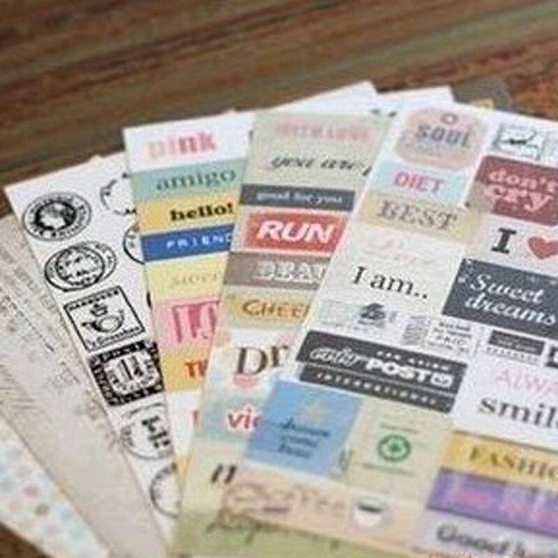 6 folhas retro letras selo adesivo de papel scrapbooking diário caderno selo adesivo festa favor presente saco caixa doces decoração