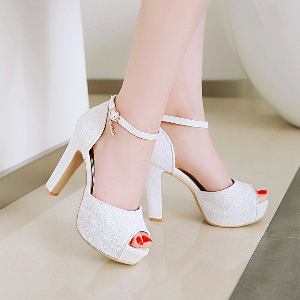صندل نسائي بكعب سميك بمقدمة مفتوحة ، أحذية صيفية ، أحذية سهرة ، زفاف ، زفاف ، مثير ، المقاسات من 33 إلى 43 ، 2020
