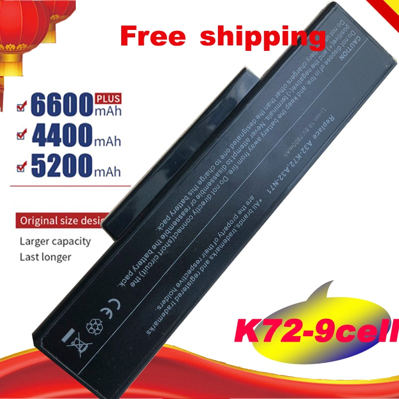 Batería del ordenador portátil para Asus N73G X77J N73J K72L N71V K72N K72D K72S N73F N73F N73S N73Q A32-K72 A72 N71 K72 N73 X77 K73 9 celular gratis