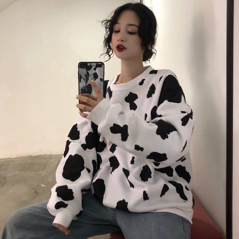 Kawaii японская Осенняя женская Свободная Толстовка с длинным рукавом, толстовка с принтом коровьего молока, модная женская Повседневная Толс...