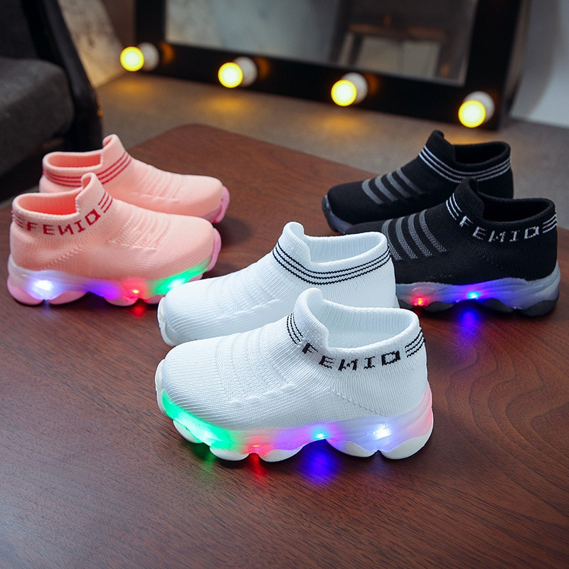 Kids Sneakers Children Baby Girls Boys Letter Mesh Led Luminous Socks Sport Run Sneakers Shoes Sapat