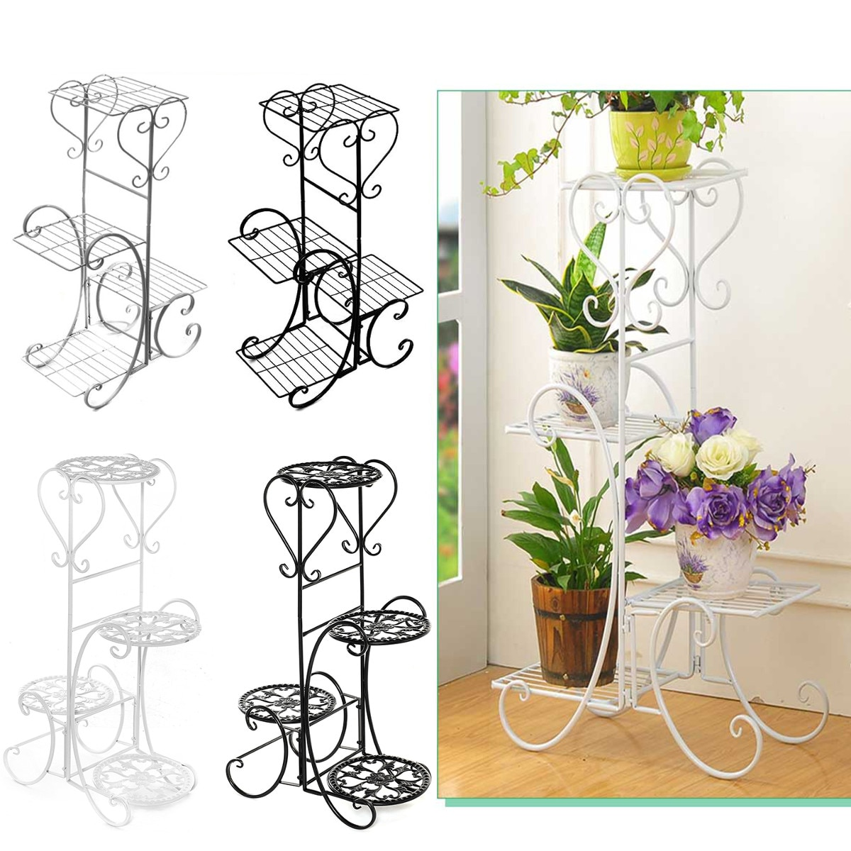 رف معدني مربع أو دائري للنباتات ، 4 مستويات ، حامل للعرض ، المنزل ، المكتب ، مكان العمل ، الحديقة ، الشرفة ، وعاء الزهور