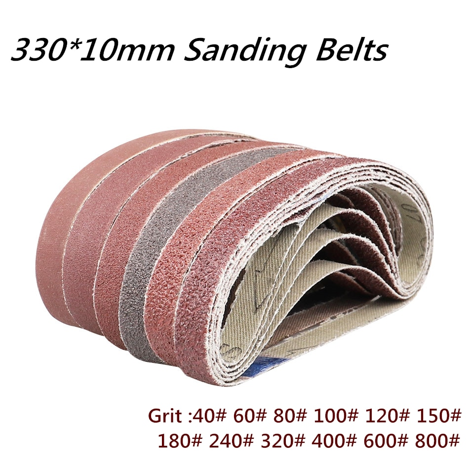 10 ks / sada 330 * 10 mm brusné pásy brusné pásy zrnitosti 40-800 pro pásovou brusku brusný nástroj leštění dřeva a měkkých kovů