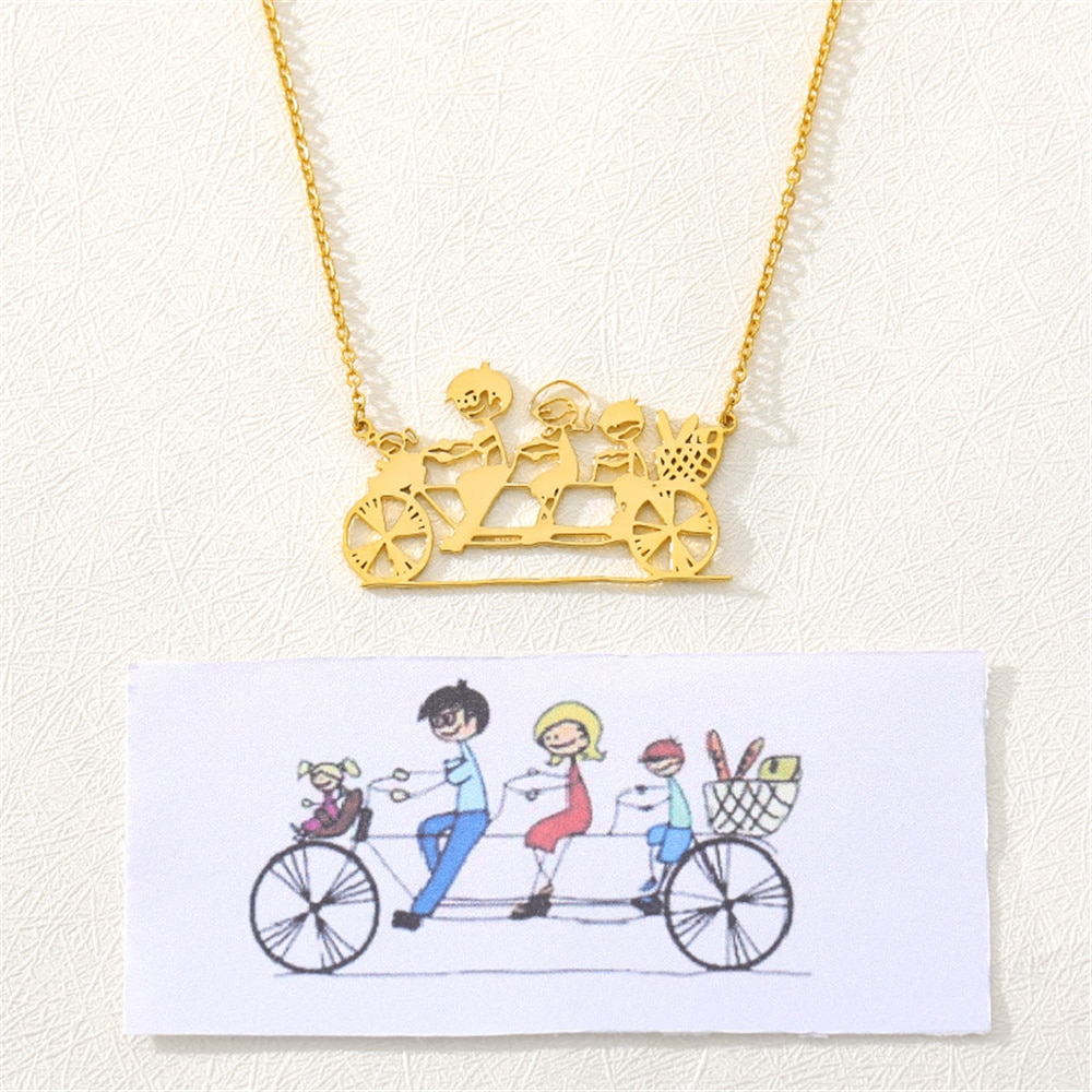 3UMeter مخصص صور قلادة الكرتون الأطفال قلادة الفولاذ المقاوم للصدأ شخصية عقد دي اي واي للأسرة الطفل هدية مجوهرات