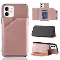 luxury pu leather flip phone case for iphone 12 mini 11 pro xs max x xr 7 8 se2 2020 wallet cards slots shockproof cover