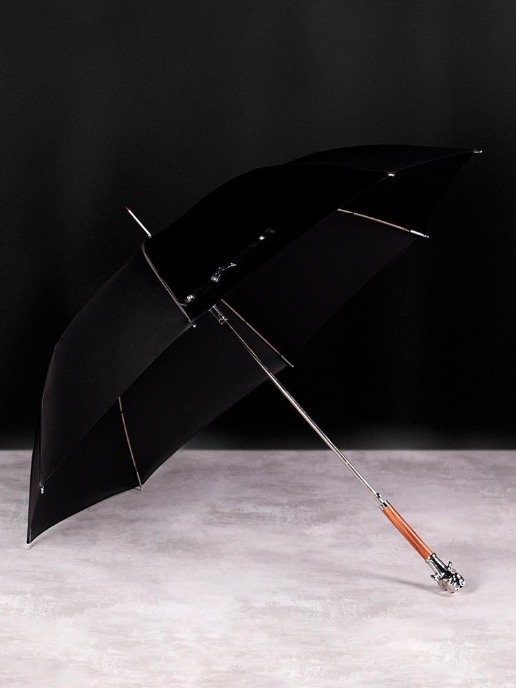 Luxury Metal Dog Umbrella Vintage Decoration Men Long Wooden Handle Umbrella Large Business Paraguas Rain Equipment LL50UM