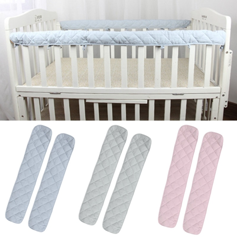 4 size blue pink color120 150 180 200cm baby bed fence guardrail baby crib guardrail bed rails bed buffer type meters general 2Pcs Cotton Crib Protection Wrap Edge Baby Anti-bite Solid Color Bed Fence Guardrail Newborn Bed Rail Cover Baby Care Safety