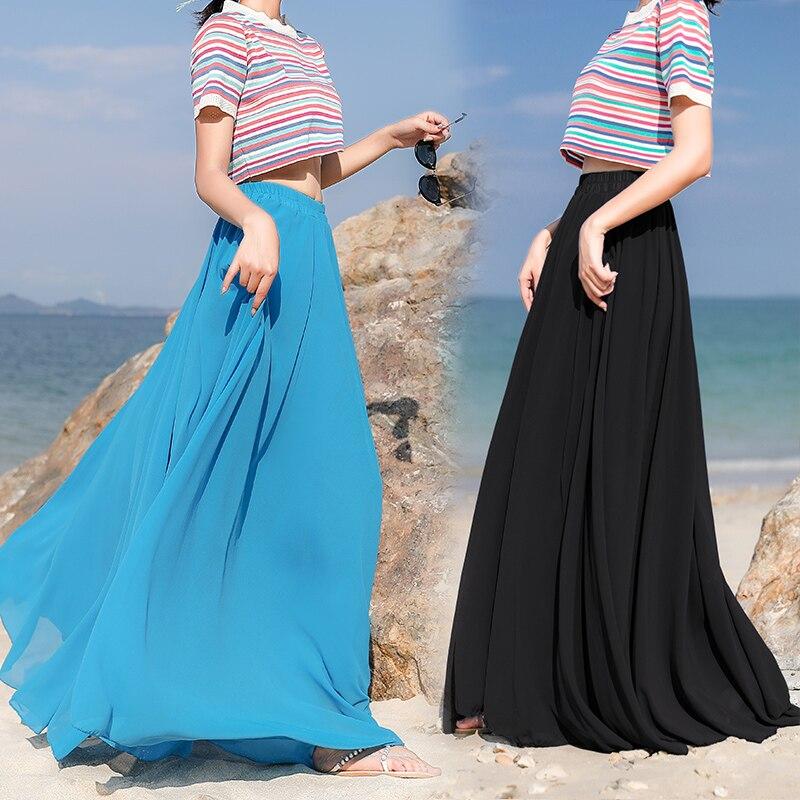 Bohemia saias longas mulheres estiramento cintura alta sólida chiffon a linha saia casual plissado maxi saia faldas saias streetwear 0.6kg