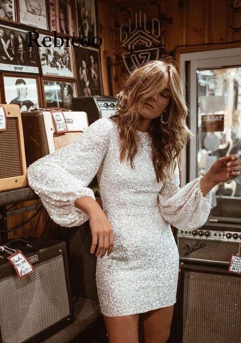 Blanco lentejuelas fiesta ceñido vestido streetwear vestidos sexy ropa mujer glitte moda fast shiping ropa