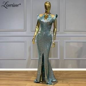 Illusion Neckline Beads Crystals Evening Dresses 2020 Mermaid Sequins Party Gowns Capped Sleeves Prom Dress Abendkleider