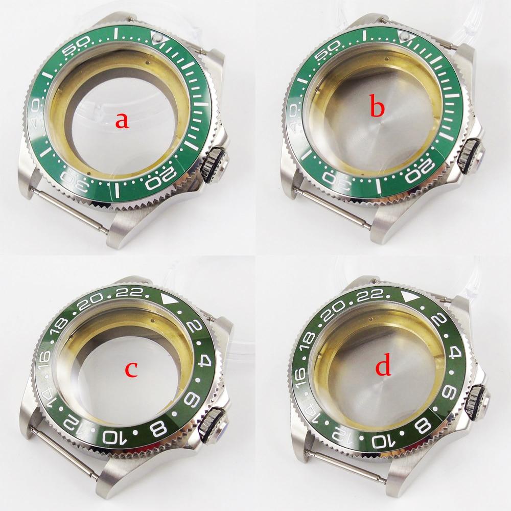 2 tipos de carcasa de reloj verde de 43mm transparente, funda sólida, funda trasera de reloj compatible con ETA 2836 mecanismo MIYOTA