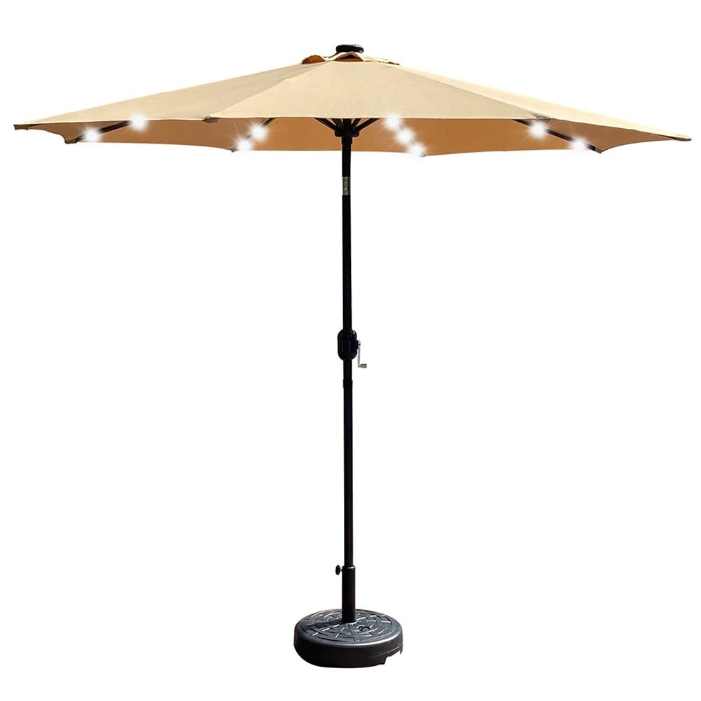 9Ft調節可能な屋外ソーラーパラソル傘ビーチ紫外線防パティオ傾斜傘日傘32 ledライト