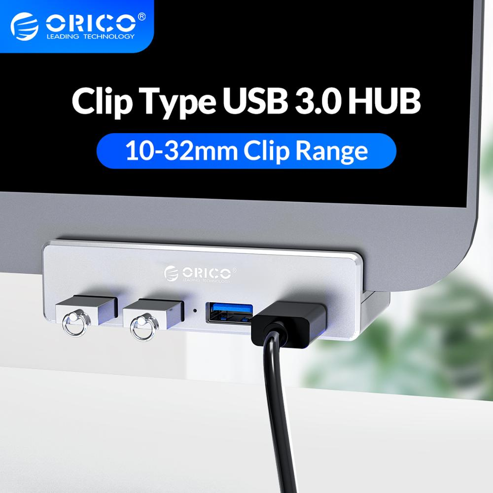ORICO Clip-type USB 3.0 HUB Aluminum External Multi 4 Ports USB Splitter Adapter for Desktop Laptop Computer Accessories(MH4PU)