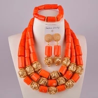 gorgeous orange nigerian coral beads necklace jewelry set african wedding coral set c21 36 02