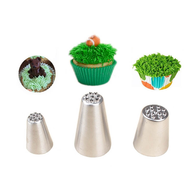 Crema de glaseado boquillas boquilla para decorar tortas 3 uds Acero inoxidable utensilios de cocina Sugarcraft decoración de repostería herramientas hierba