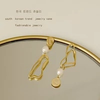 korean geometric asymmetrical earrings retro portrait earrings design exaggerated personality matte earrings