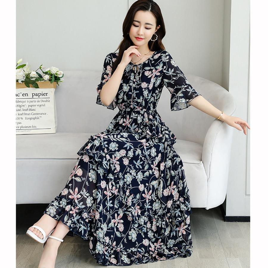 Vestido Midi de talla grande de chifón para playa, vestido con estampado de pastel Vintage de primavera y verano 2020, vestido elegante y ajustado para fiesta