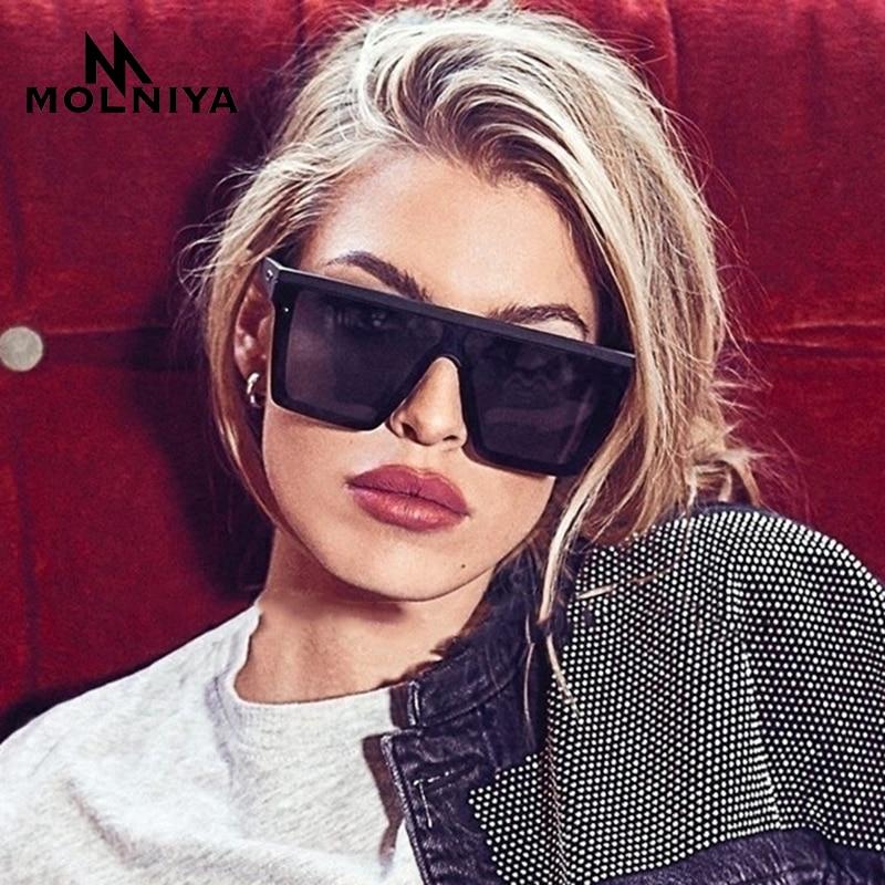 MOLNIYA Classic Vintage Square Sunglasses Woman Siamese Oversized Sunglasses Woman/Men Retro Sunglas
