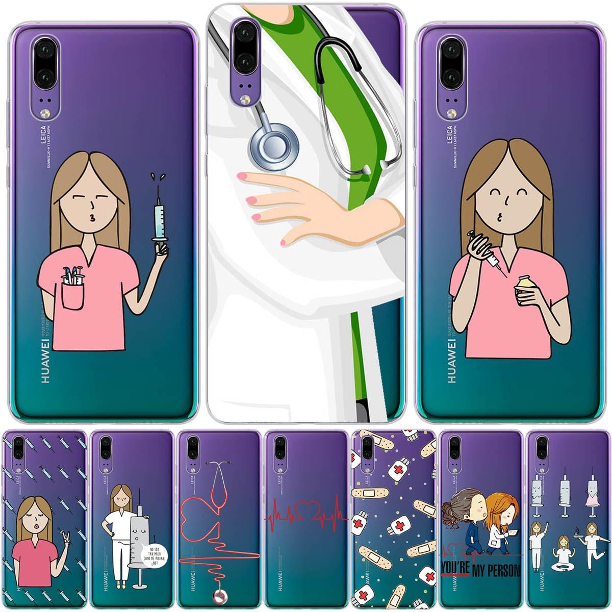 Doctor enfermera salud corazón silicona suave TPU Funda para teléfono Funda para Huawei P8 P9 Lite 2017 P10 P20 P30 Lite Pro Funda
