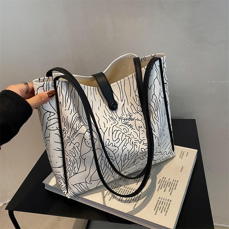 Bolso de mano portátil para mujer, bolsa de hombro con hebilla de dibujo de línea de ocio, a la moda, de gran capacidad, para ir de compras, de viaje y playa