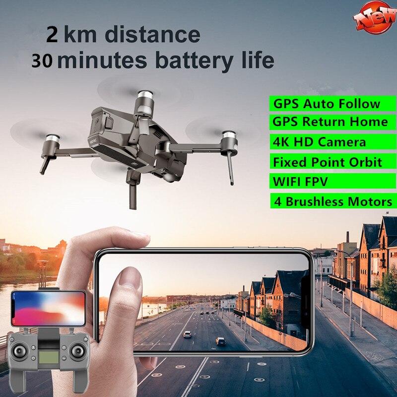 GPS professionnel Brushless Télécommande Quadrirotor 5G RC WiFi FPV 30min 2KM 4K HD Caméra de Suivi Automatique Télécommande Drone Jouet