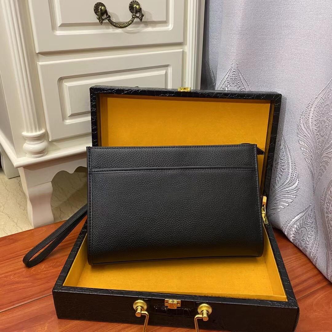 Мужской черный кожаный клатч, повседневный простой клатч, деловой женский клатч с несколькими карманами