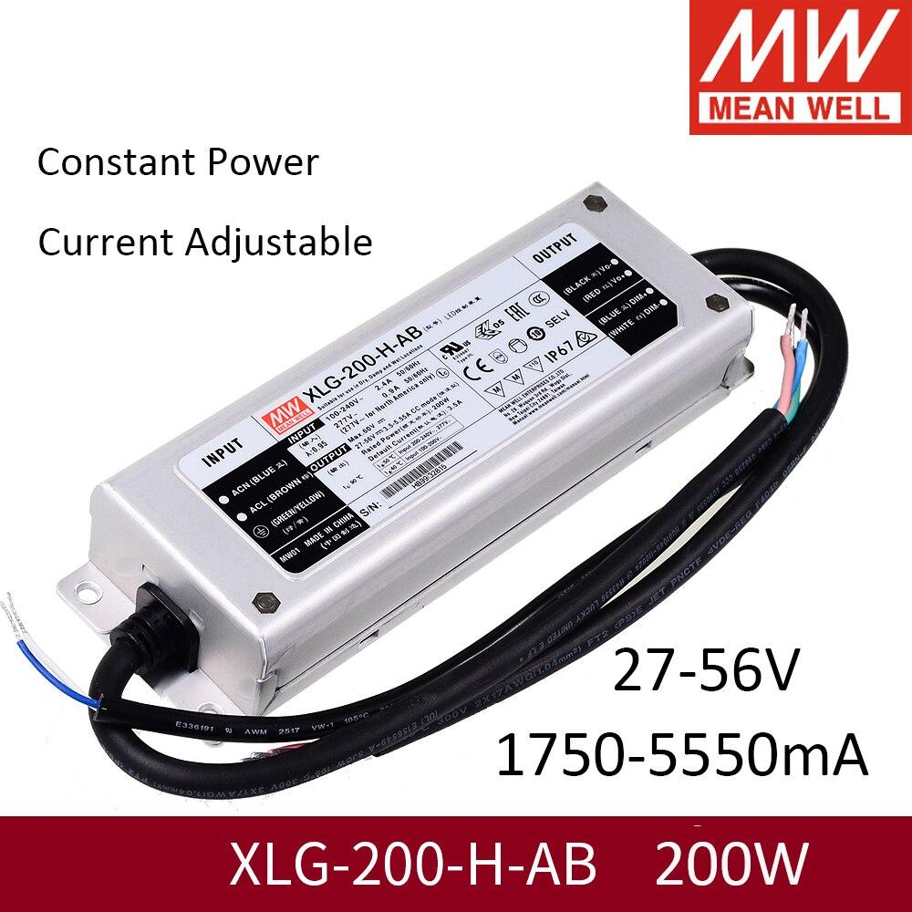يعني حسنا XLG-200-H-AB 27 ~ 56V 200W امدادات الطاقة ثابت الطاقة PFC LED سائق ل 200W مجلس LM301H LM301B LED تنمو الاضواء