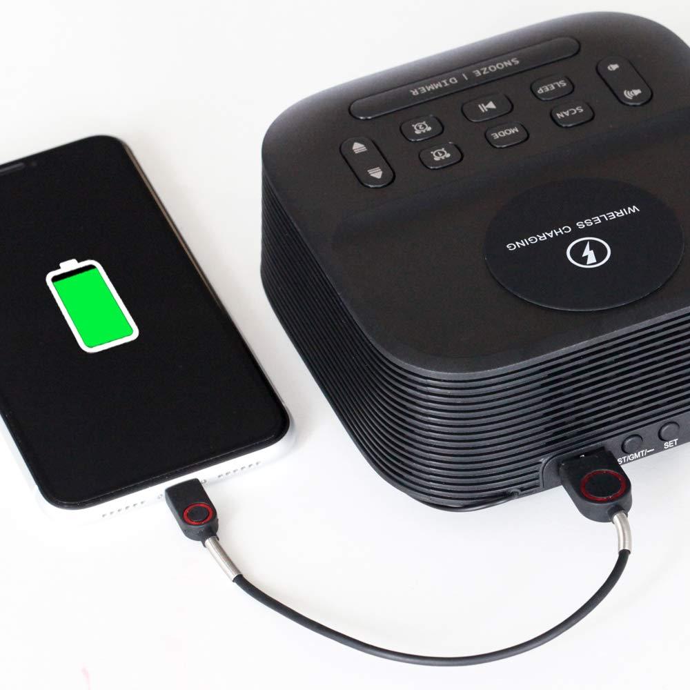 Homtime Wireless Charging speaker with FM radio USB Bluetooth speaker Dual Alarm clock speakers wireless charging function Hotel enlarge