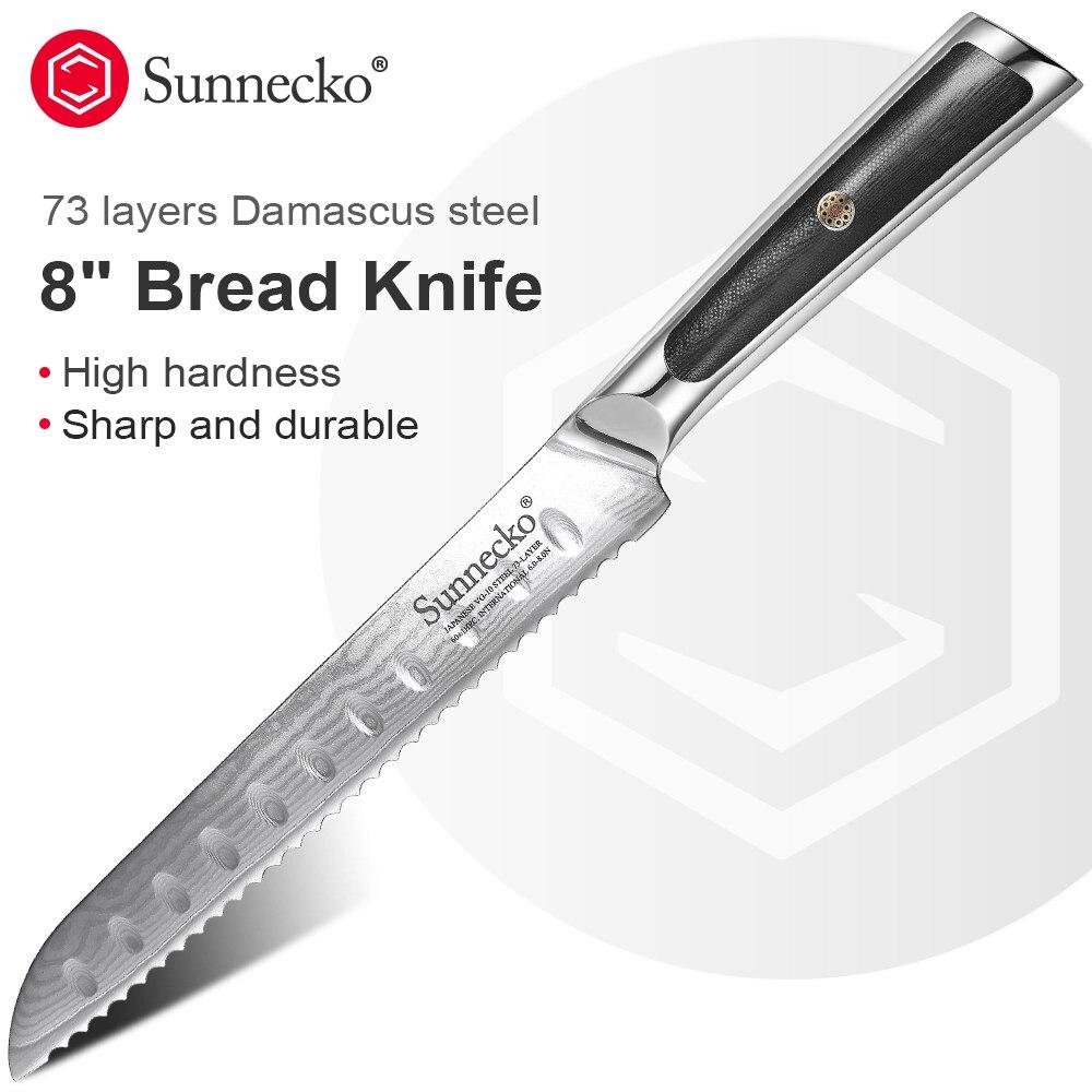Sunnecko-سكين مطبخ بشفرة فولاذية دمشقية ، 8 بوصات ، لتقطيع الخبز على الطريقة اليابانية VG10 Core G10 ، للإفطار