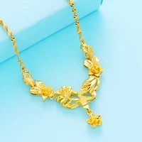 necklace for women vintage flower necklaces with pendant for wedding vietnam sand gold water wave chain fashion jewelry necklace