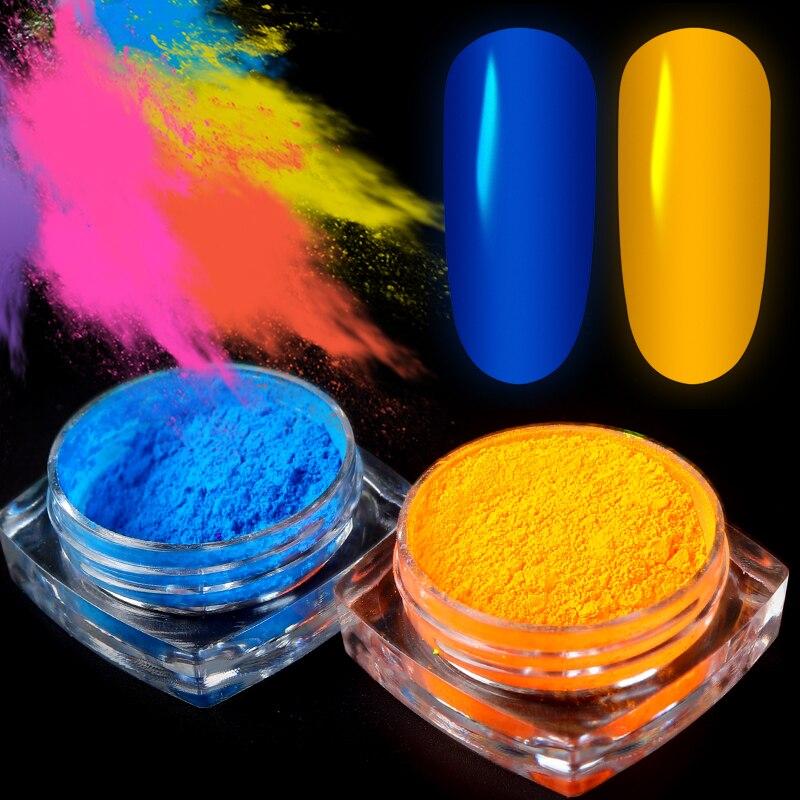 Pigmento de neón para uñas, 1 caja de polvo para uñas de color degradado con brillo, polvo acrílico iridiscente, decoración para uñas, manicura