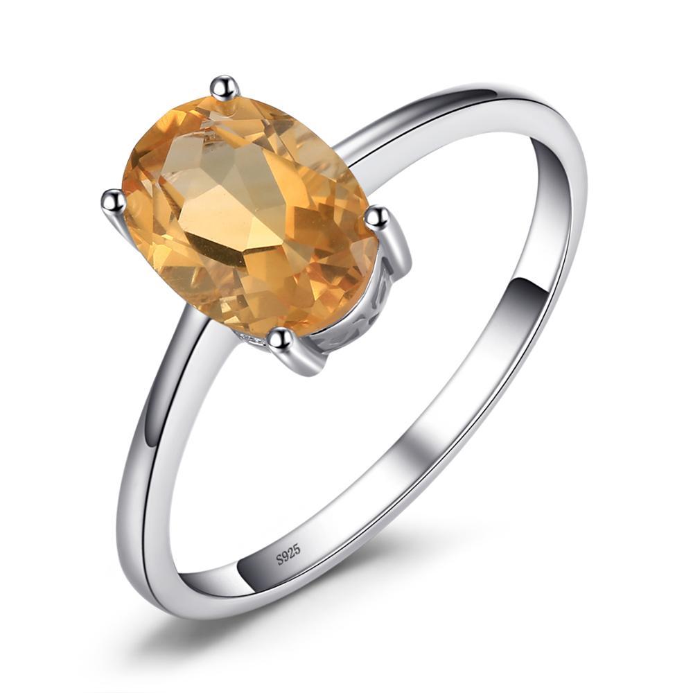 Купить с кэшбэком JE Genuine Amethyst Citrine Peridot Garnet Topaz Ring Solitaire 925 Sterling Silver Rings for Women Silver 925 Gemstones Jewelry