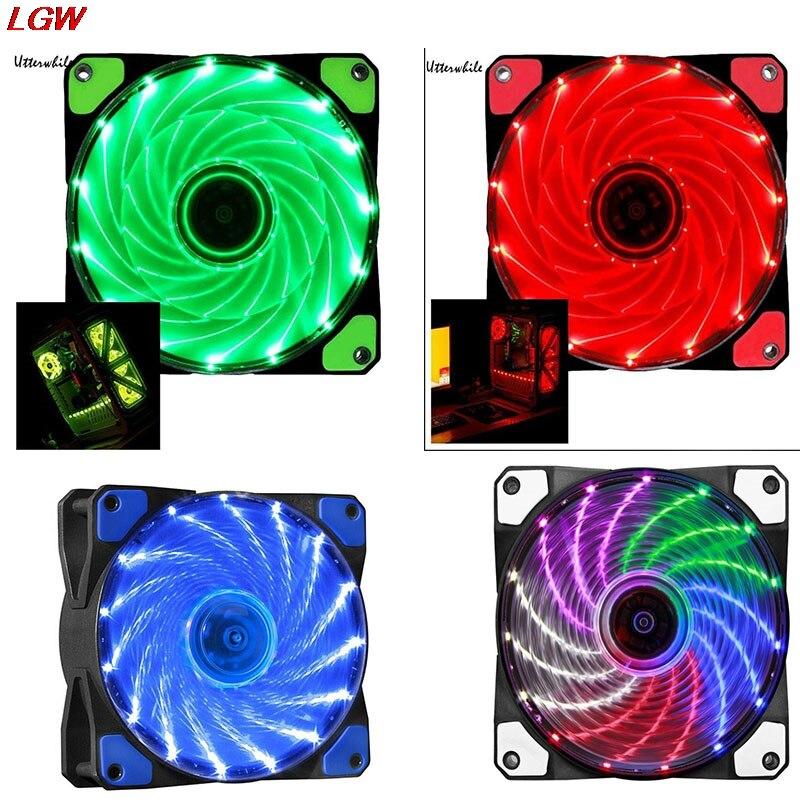 15 LED 12V wentylator chłodzący 9 ostrza 4PIN 12cm ultra-cichy komputer obudowa PC kolorowe kolory