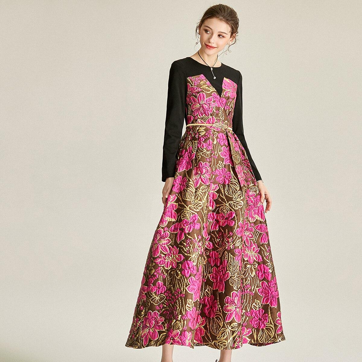 2021 ربيع الخريف فستان جاكار س الرقبة فستان بروكيد المرقعة المرأة كم طويل ملابس الحفلات المسائية منتصف العجل الكرة ثوب 07