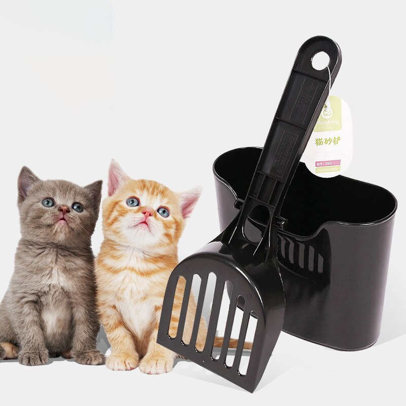 Cat Litter Scoop Set Terrarium Hook Pet Poo PP Shovel Cleaning Sifter Save Space Black Box-packed Mesh Bedding Pet Housebreaking