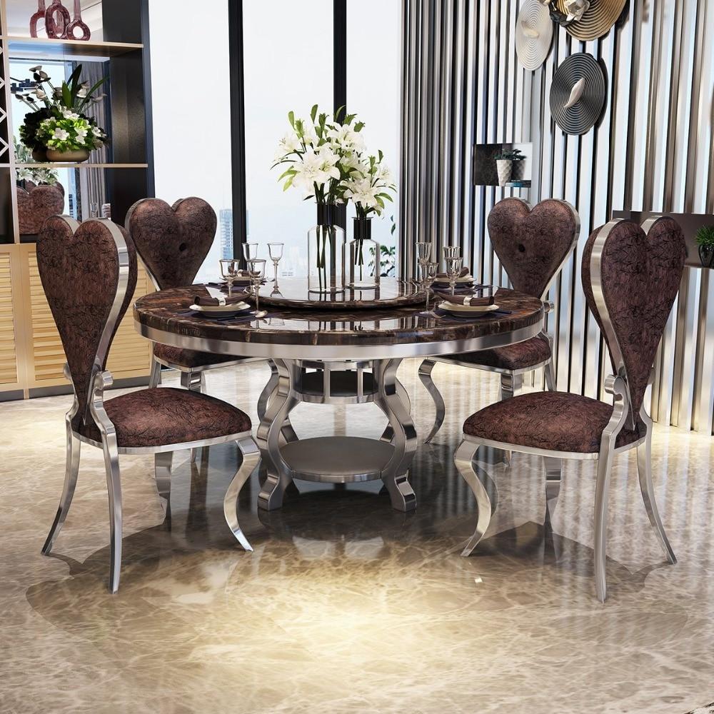 راما Dymasty الفولاذ المقاوم للصدأ مجموعة غرفة الطعام أثاث المنزل الحديثة طاولة طعام من الرخام و 6 كراسي ، طاولة طعام مستديرة
