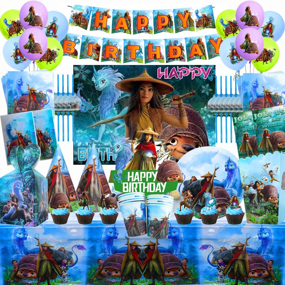 Одноразовая посуда Disney Raya и последний дракон, детская посуда на день рождения, тарелки, праздничные сувениры, набор украшений
