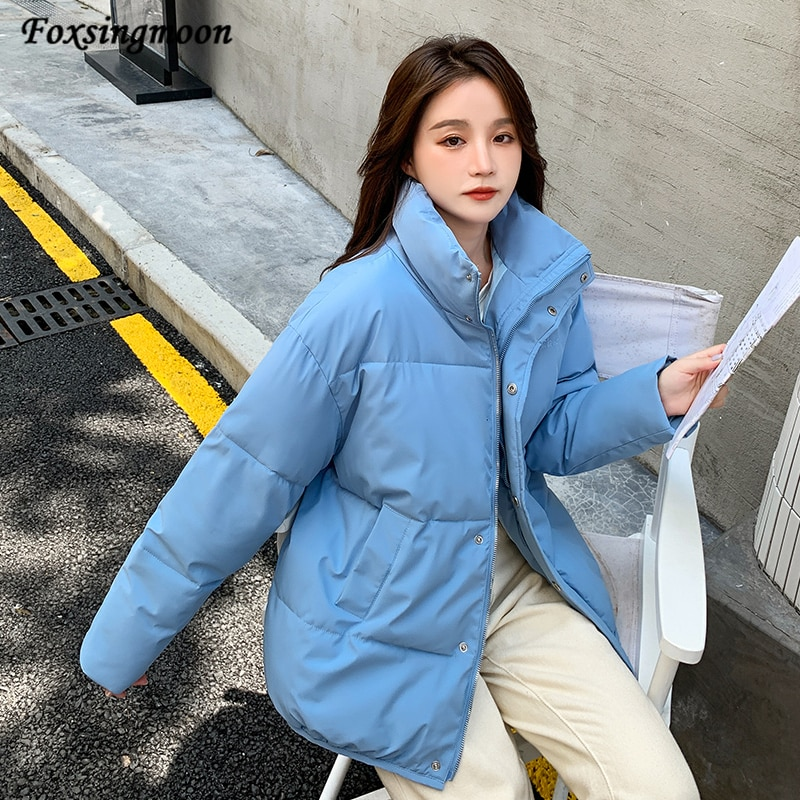 Женские зимние парки, новинка 2021, однотонные утепленные теплые ветрозащитные куртки на молнии, зимнее пальто для женщин, однотонная Плотная...