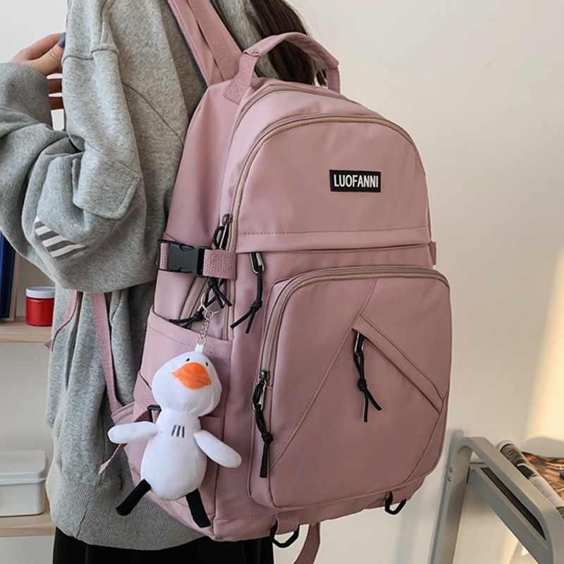 High Quality Solid Color Woman Backpack Female Book School Bag for Teenage Girls Boys Student Women'