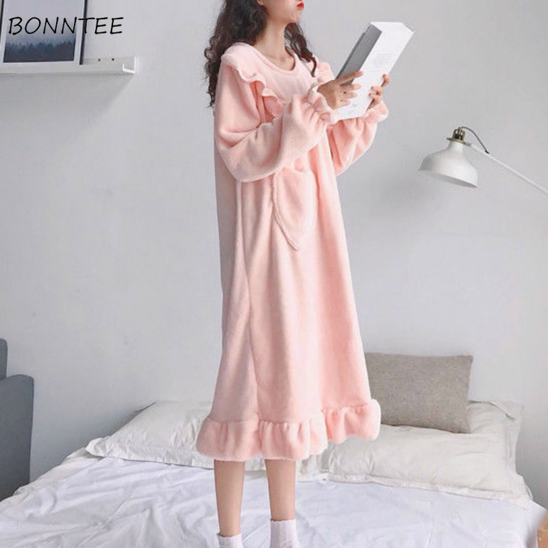 Camisola feminina puro rosa doce flanel ulzzang babados moda primavera jovens meninas fresco noite vestido macio kawaii solto homewear