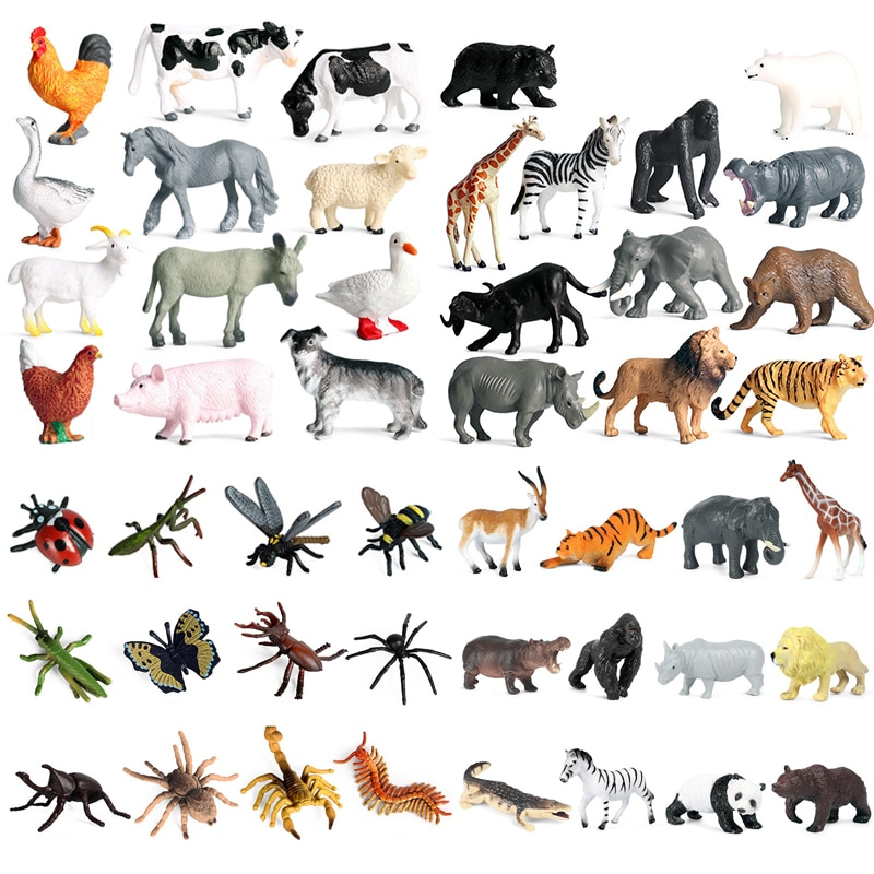 12PCS Safari Animal Figurines Set Jungle Animals Figures Great Educational Toys Playset for Kids Toddler Party Supplies