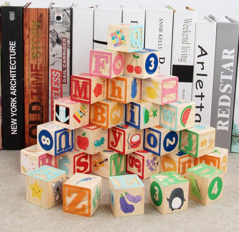 Letras do alfabeto montessori, brinquedos educativos de madeira para aprendizagem precoce, 26 peças