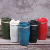 creative portable 550380ml coffee cup travel mug airless bottle insulation airless bottle straight cup gift